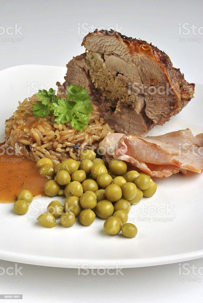 fresh organic stuffed turkey leg on a plate royalty-free stock photo