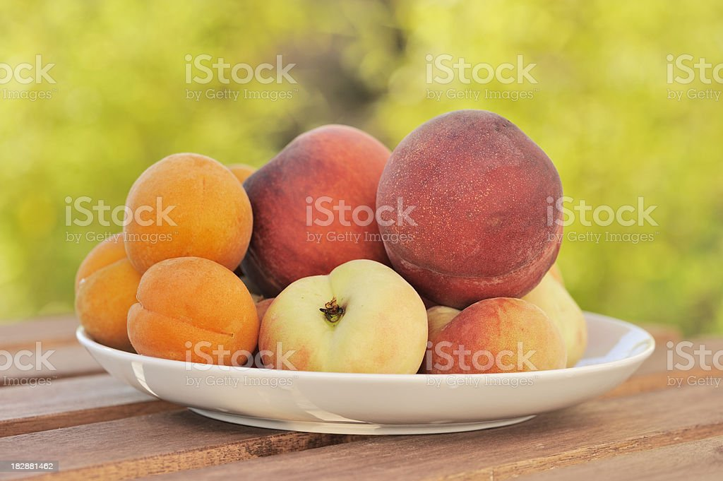 Fresh Organic Summer Fruits Outdoors royalty-free stock photo