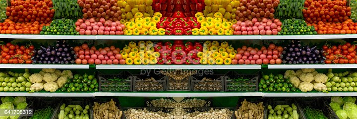 istock Fresh organic Vegetables and fruits on shelf in supermarket, farmers market. Healthy food concept. Vitamins and minerals. Tomatoes, capsicum, cucumbers, mushrooms, zucchini, 641708312