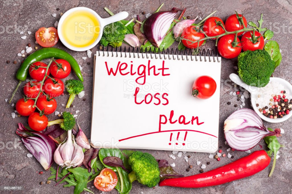 Fresh organic vegetables, herbs and spices. Mix salad, tomatoes, chilli, garlic and open blank notebook with plan eating. Weight loss concept. Products for boosting metabolism stock photo