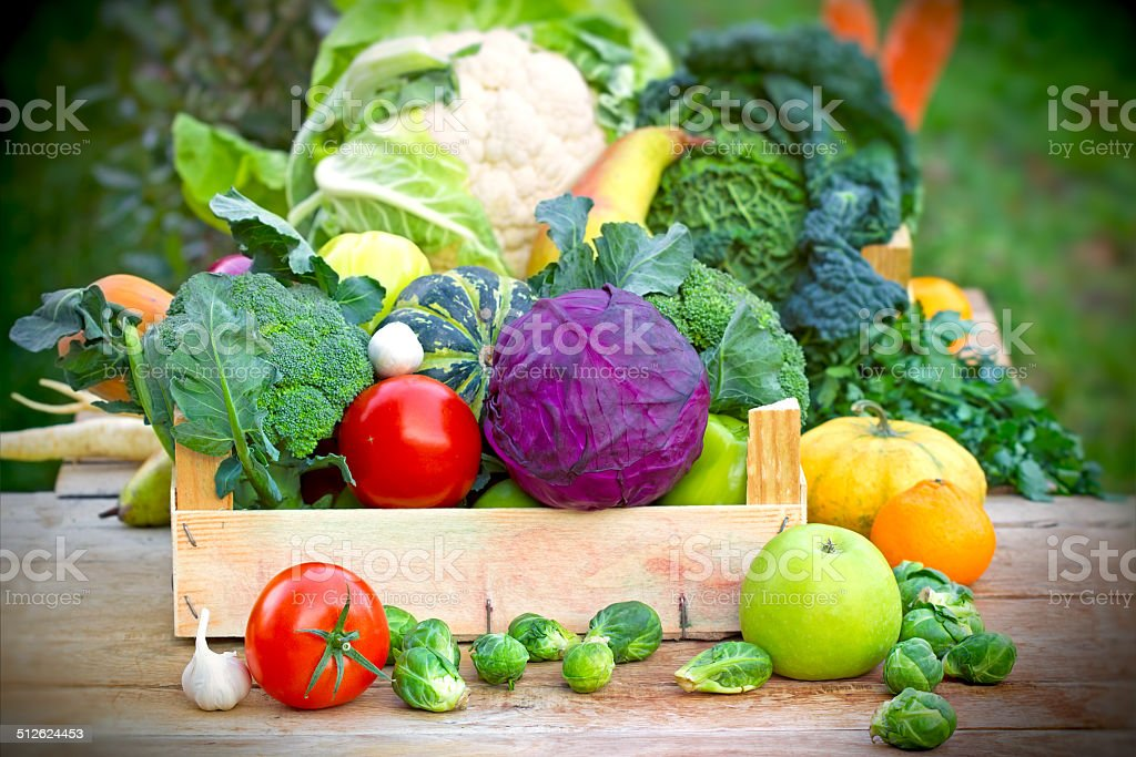 Fresh organic vegetables in crates stock photo