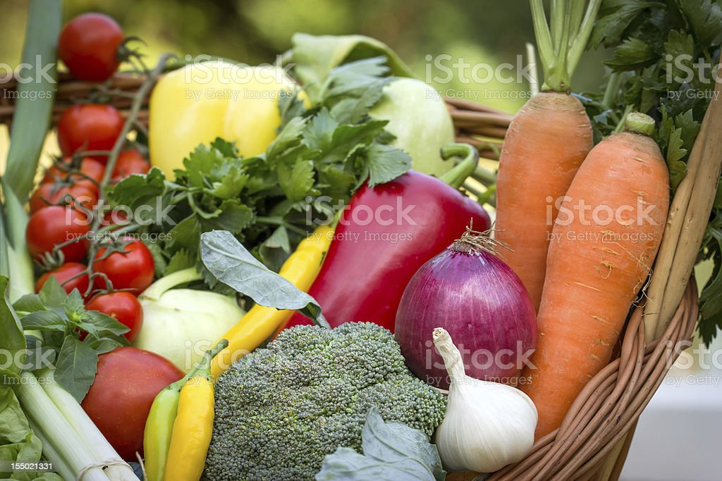 Fresh organic vegetables in the wicker basket royalty-free stock photo