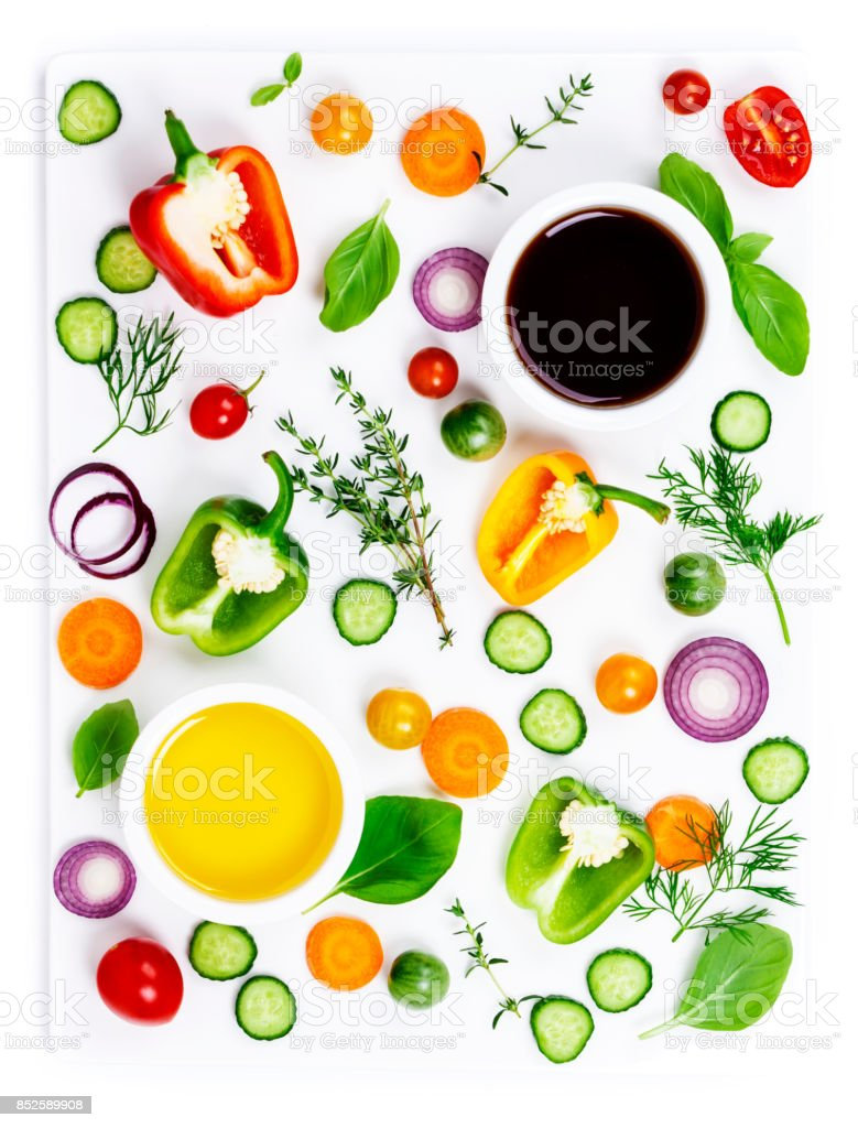 Fresh organic vegetables  isolated on white background, top view stock photo
