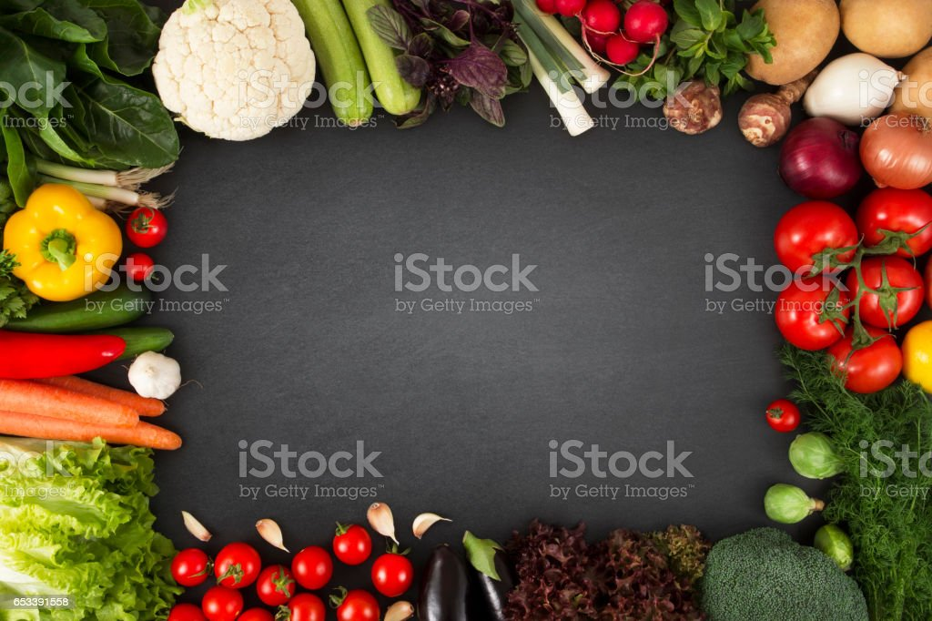 Fresh Organic Vegetables on Blackboard stock photo