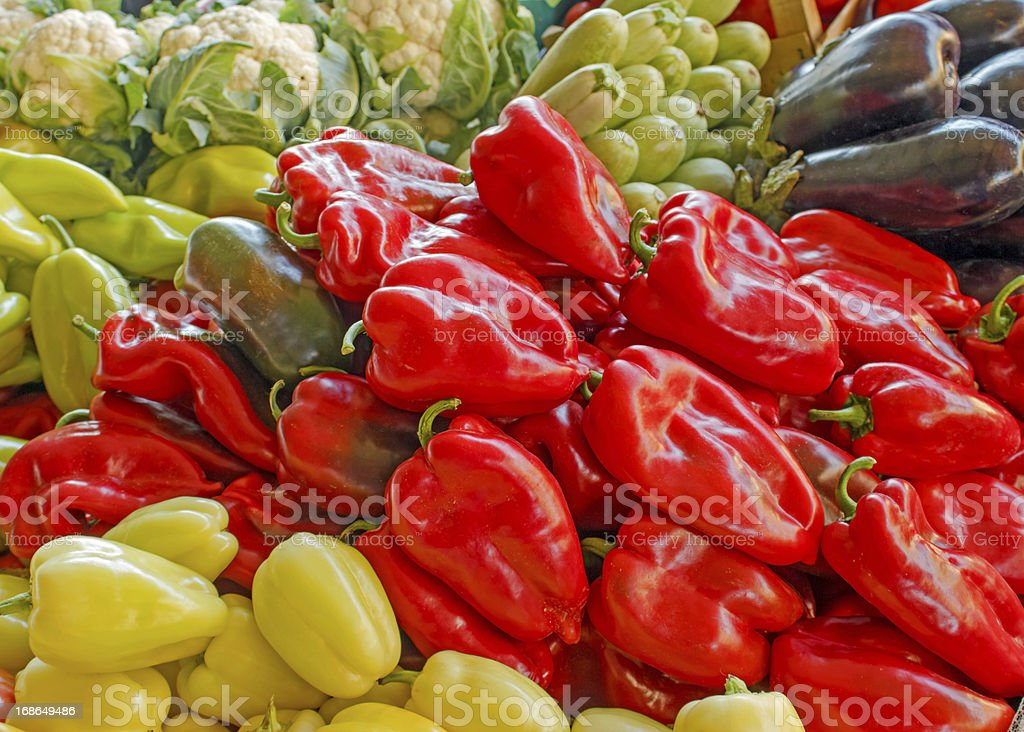 Fresh organic vegetables on market stalls royalty-free stock photo