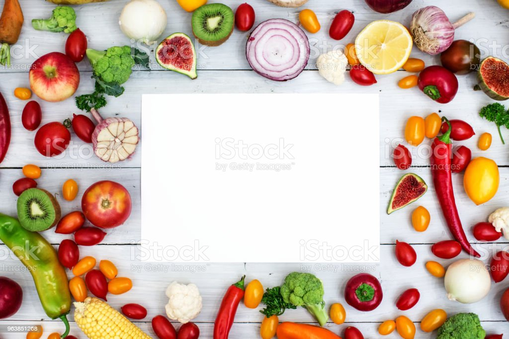 Fresh organic vegetables on wooden with copy space. - Royalty-free Agriculture Stock Photo