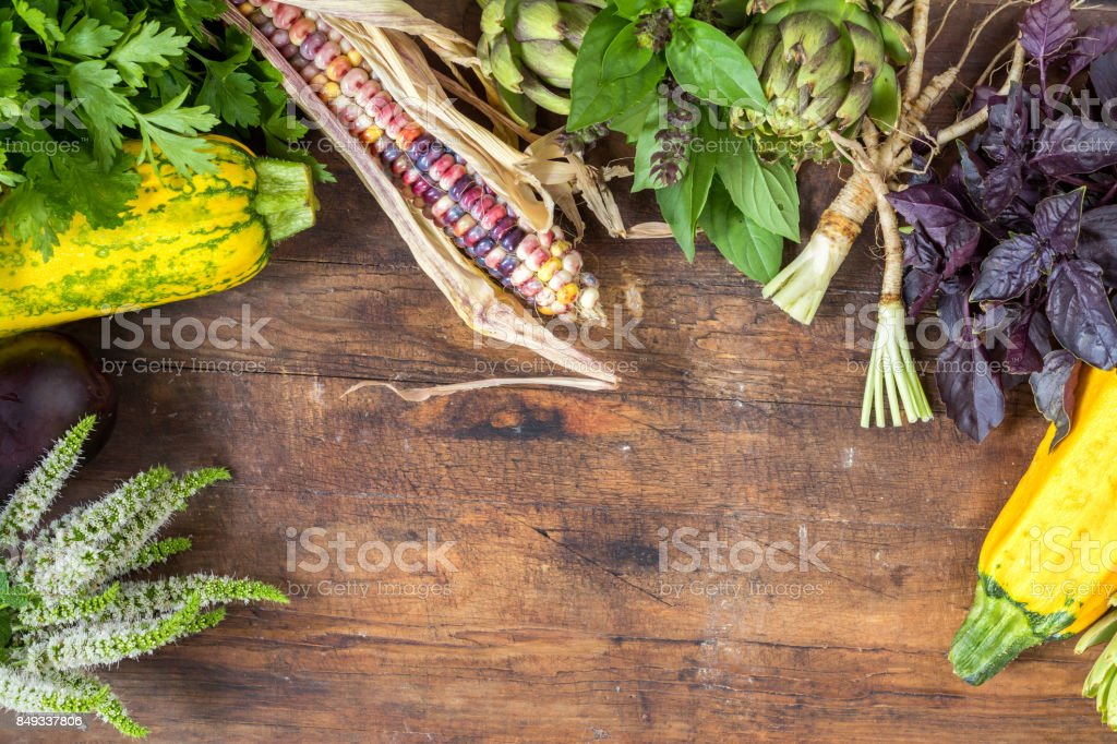 Fresh organic vegetables wooden floor with copy space royalty-free stock photo