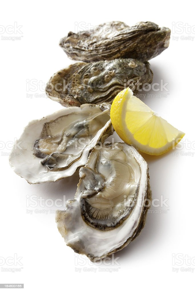 Fresh oysters on the half shell and lemon wedge stock photo