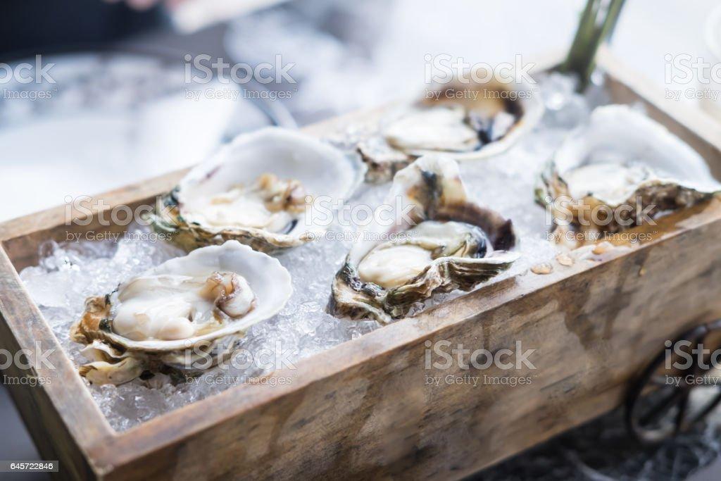 Frische Austern auf Holztablett, Lebensmittel-Hintergrund – Foto