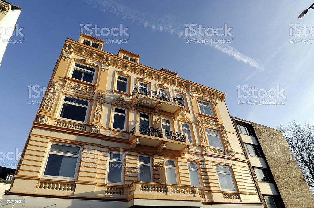 fresh painted stucco townhouse, hamburg royalty-free stock photo