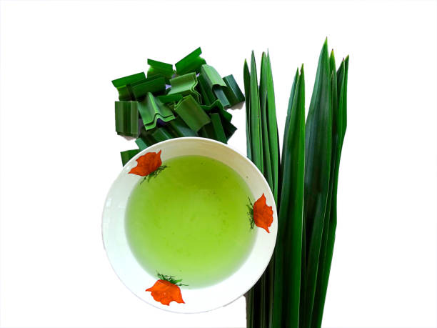 fresh pandan juice in bowl,fresh pandan leaves cut - pandan składnik zdjęcia i obrazy z banku zdjęć