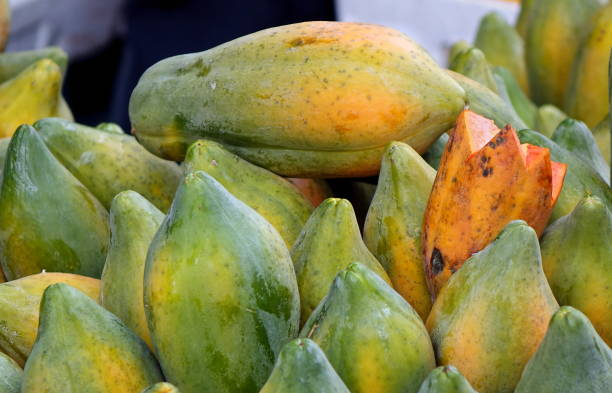 Fresh Papayas for Sale stock photo