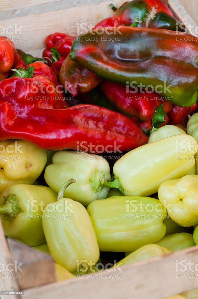 Fresh paprica in wooden box royalty-free stock photo