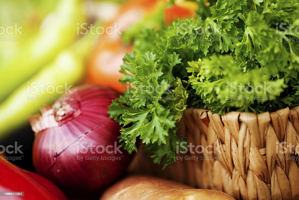 Fresh parsley and vegetables stock photo