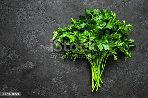Fresh parsley bunch, top view