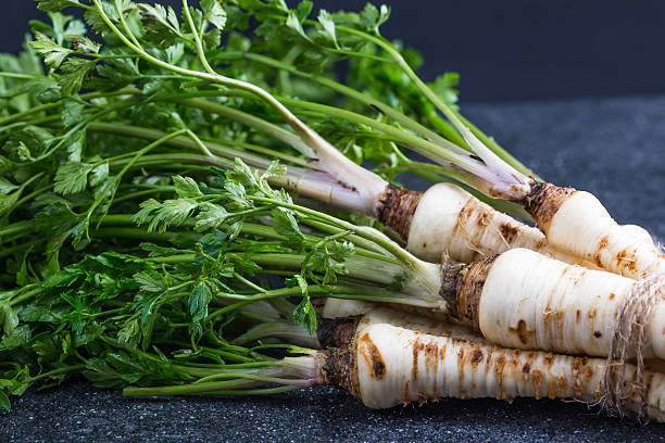 Fresh Parsley with root on table stock photo