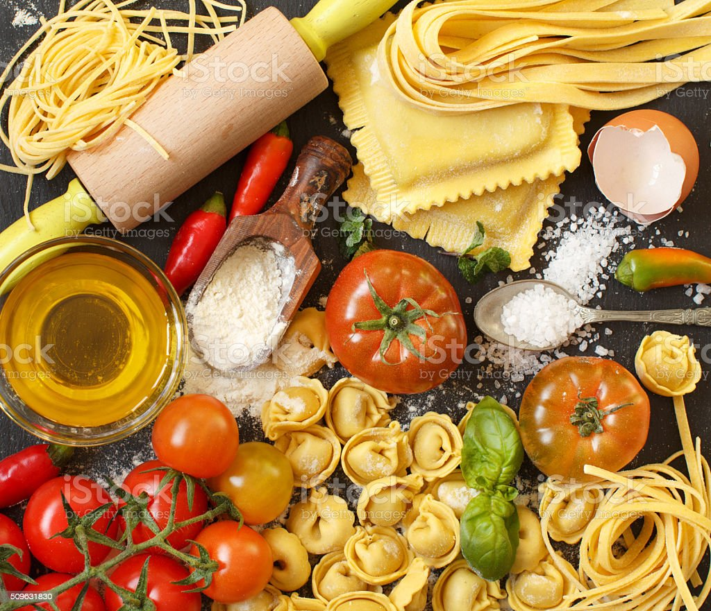 Fresh pasta and ingredients stock photo