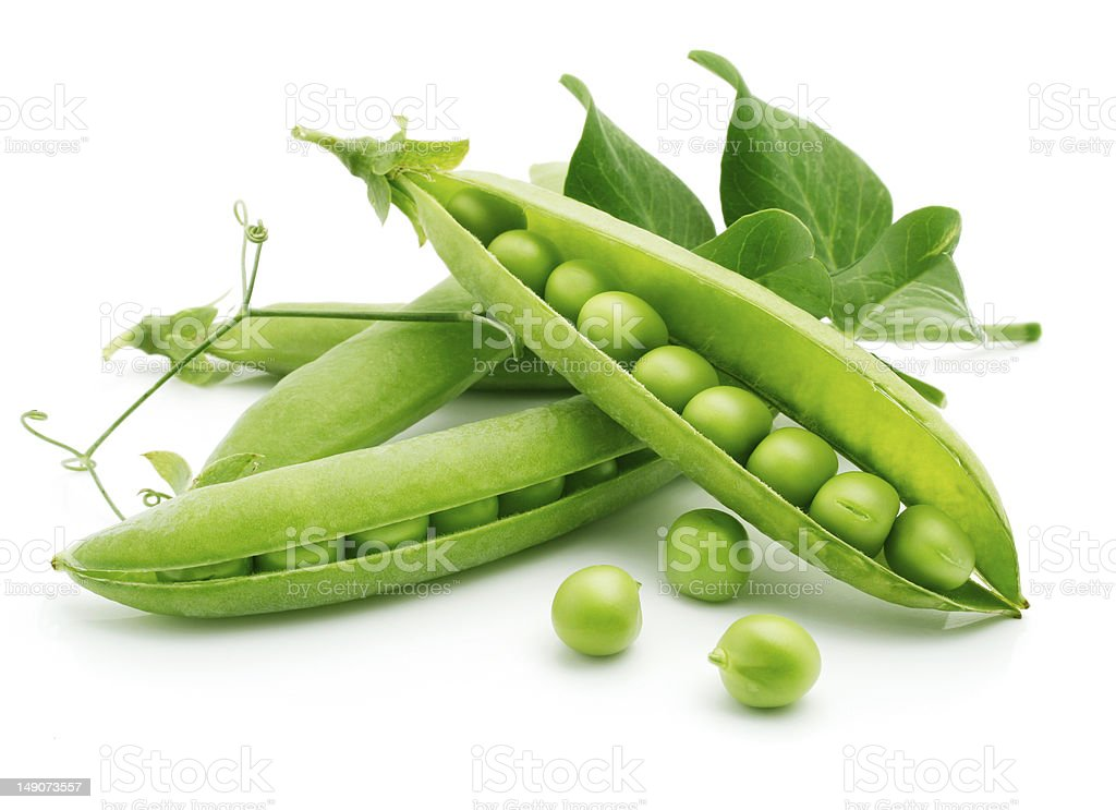 fresh pea fruit with green leaf stock photo