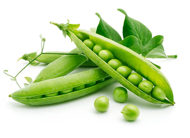 fresh pea fruit with green leaf fresh pea fruit with green leaf isolated on white background plant pod stock pictures, royalty-free photos & images