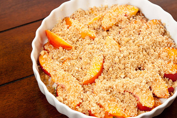Fresh Peach Crisp stock photo