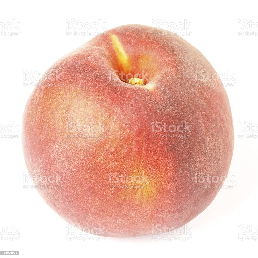 Fresh peach isolated on white with clipping path stock photo