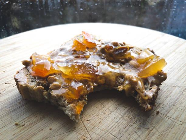 Fresh Peanut Butter Marmalade Toast stock photo