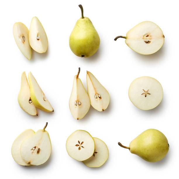 fresh pear isolated on white background - pera foto e immagini stock