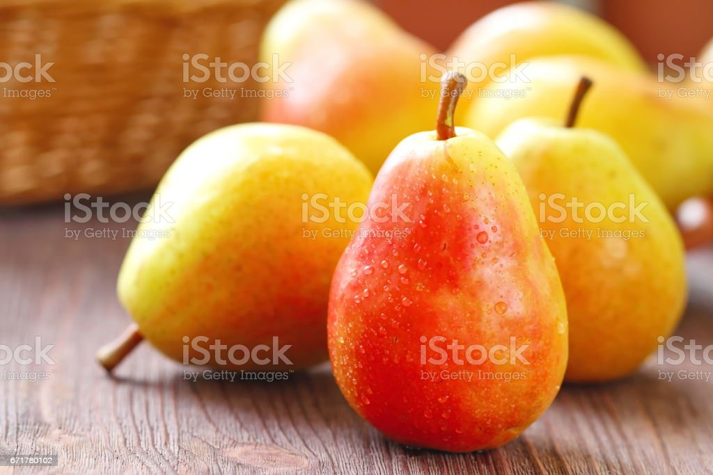 Fresh pears on the table stock photo