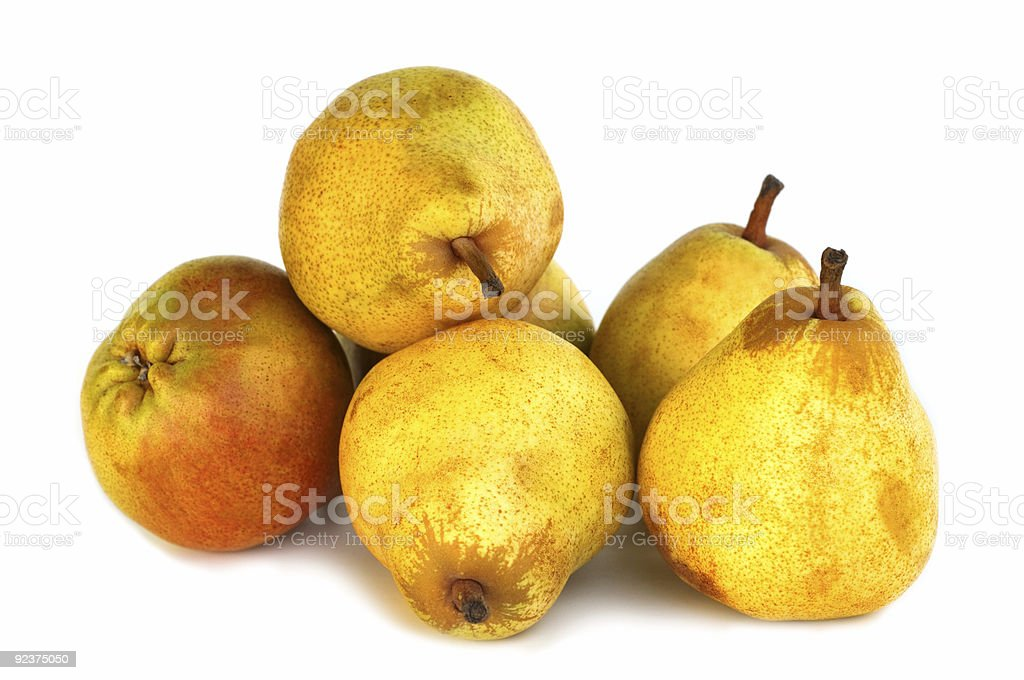 fresh pears on white background royalty-free stock photo