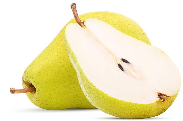 fresh pears, one and a half yellow fruit - pera foto e immagini stock