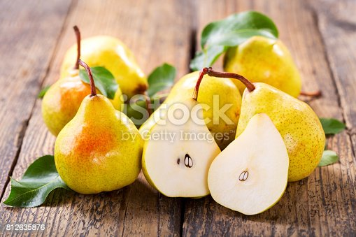 istock fresh pears with leaves 812635876