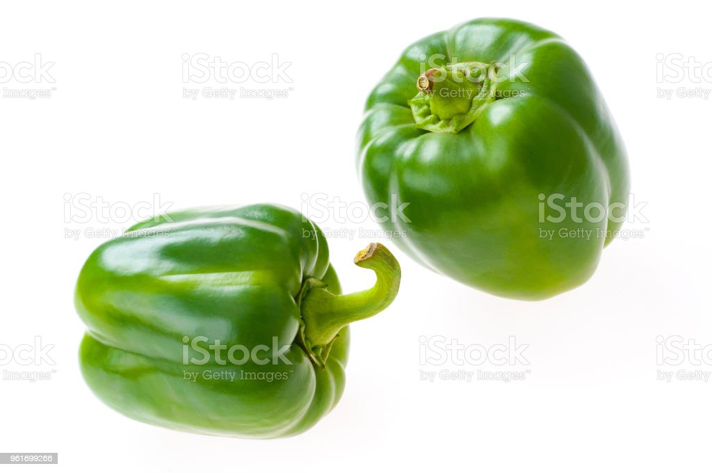 Fresh peppers isolated on white background stock photo