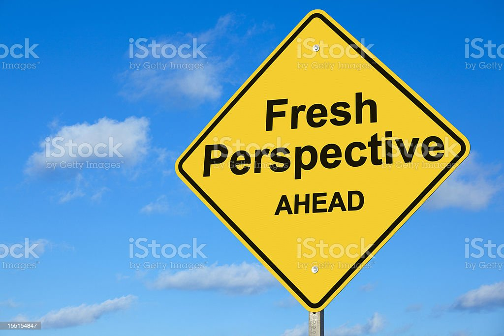 Fresh Perspective Ahead Road Sign royalty-free stock photo