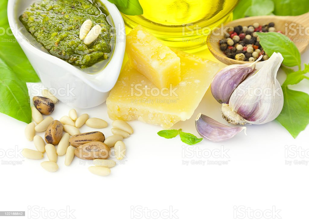 Fresh Pesto and its ingredients / isolated on white royalty-free stock photo