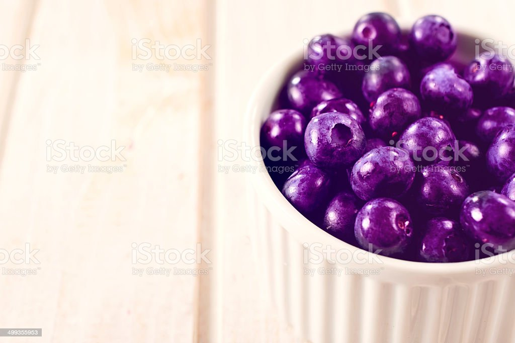 Fresh picked blueberries stock photo