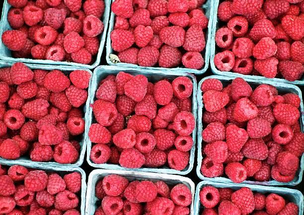 Fresh picked country Raspberries stock photo