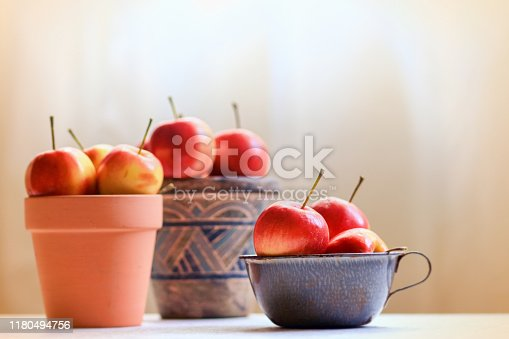 Flower pots filled with fresh crab apples