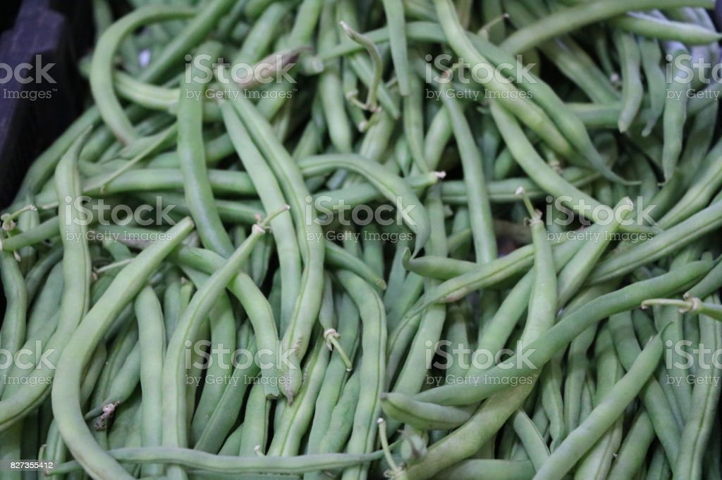Fresh picked green beans at the market in Fremantle, Western Australia stock photo