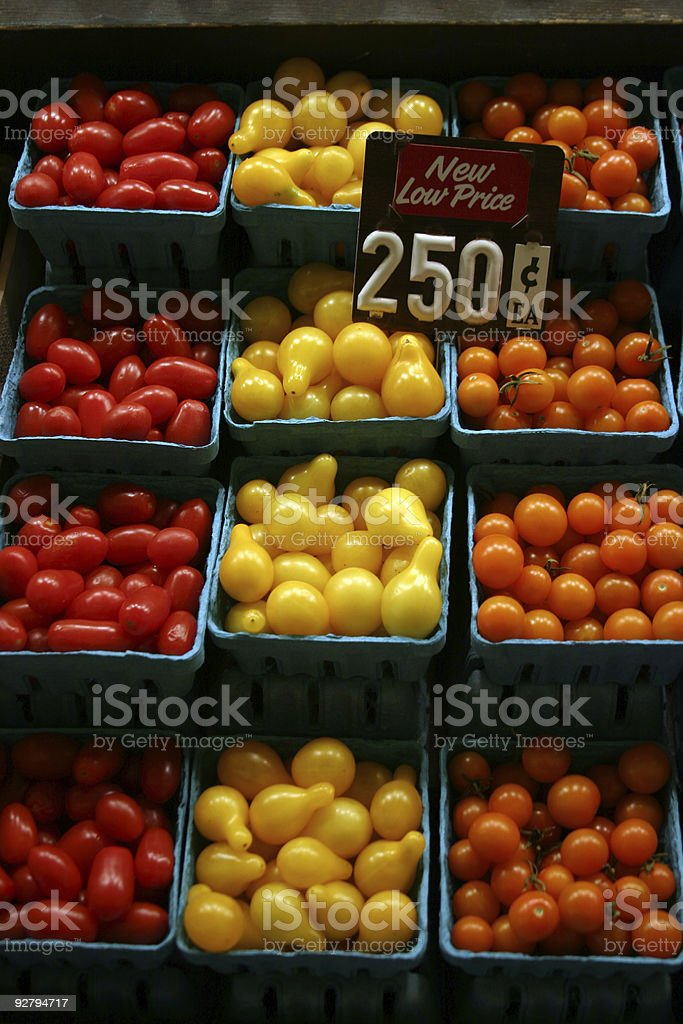 fresh picked tomatoes for sale at a farmers market royalty-free stock photo