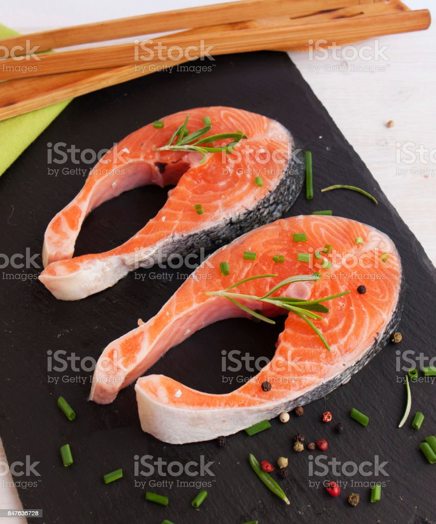Fresh pieces of red fish.Salmon Steak stock photo