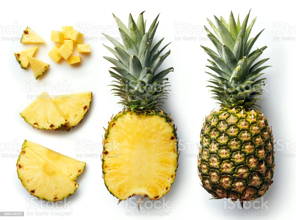 Fresh pineapple isolated on white background - fotografia de stock
