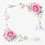 istock Fresh pink roses frame border isolated 611863660