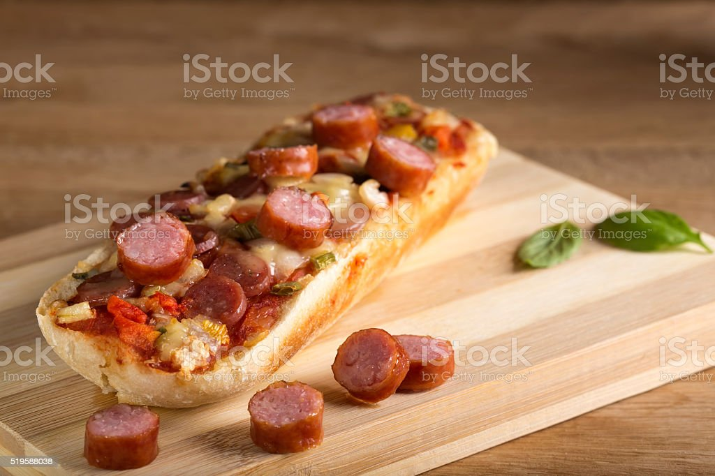 Fresh pizza baguette stock photo