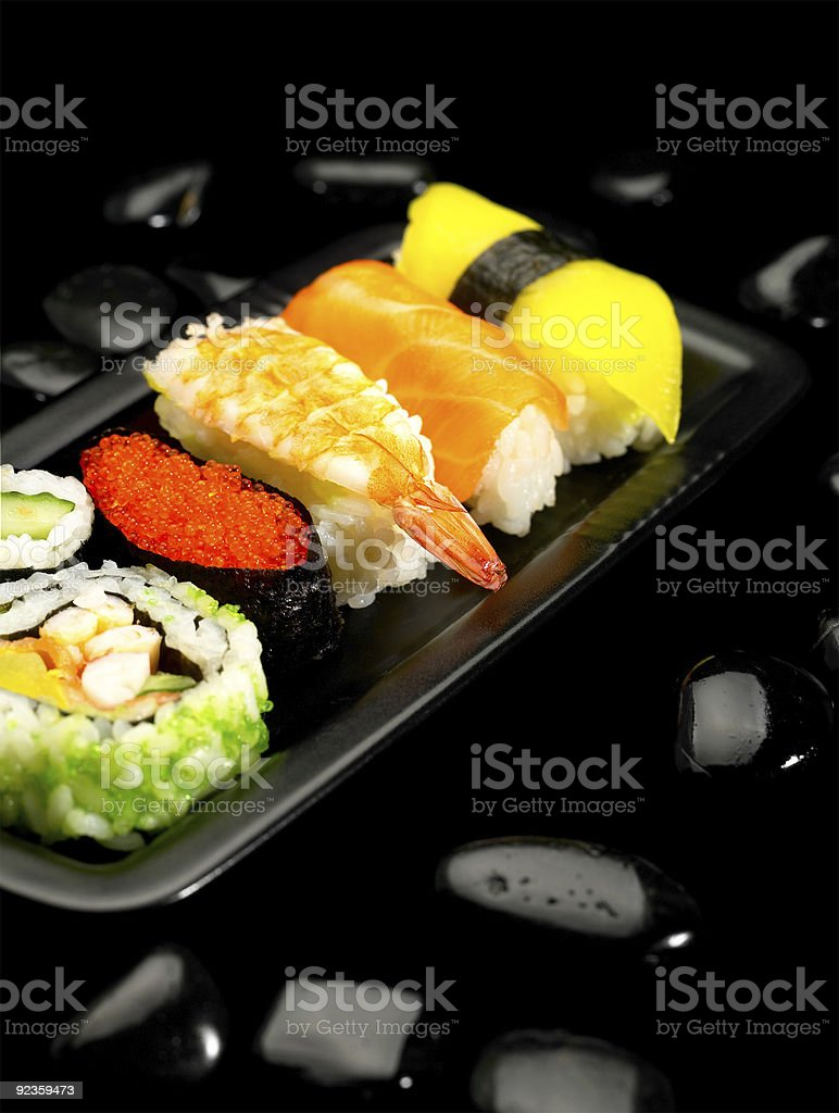 Fresh platter of sushi along with other seafood. royalty-free stock photo