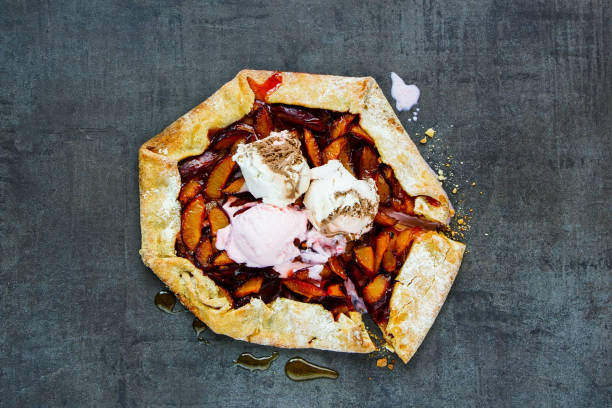 Fresh plum pie stock photo