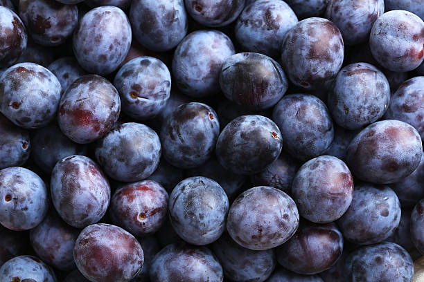 Fresh plums background stock photo