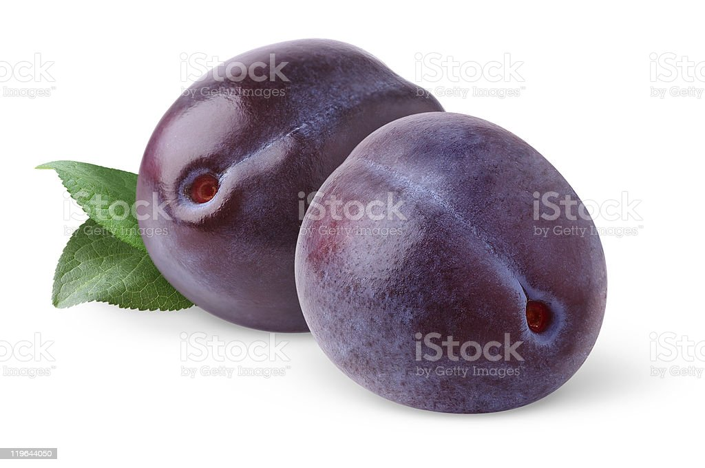 Fresh plums isolated on white royalty-free stock photo
