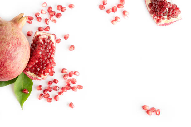 fresh pomegranate fruit with the seeds - romã imagens e fotografias de stock