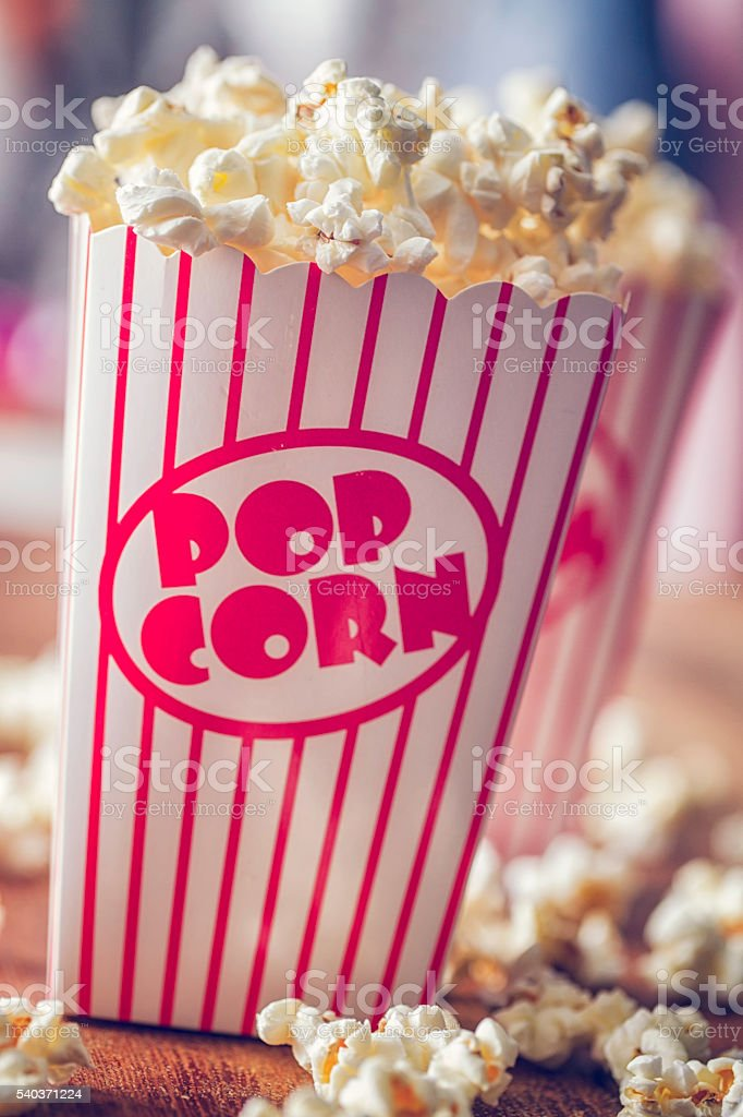 Fresh Popcorn in a Large Popcorn Box stock photo