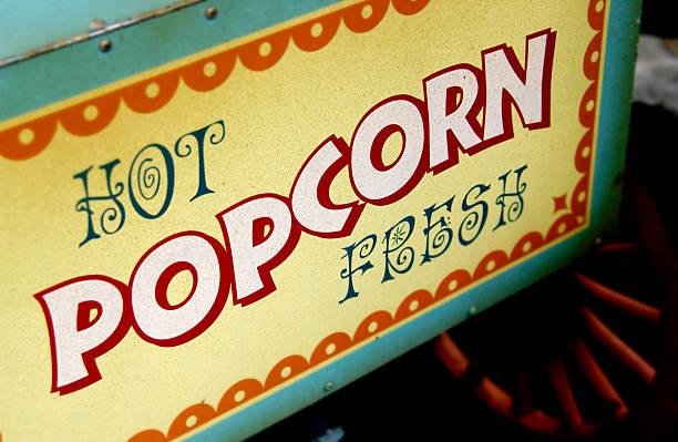 Fresh popcorn machine stock photo